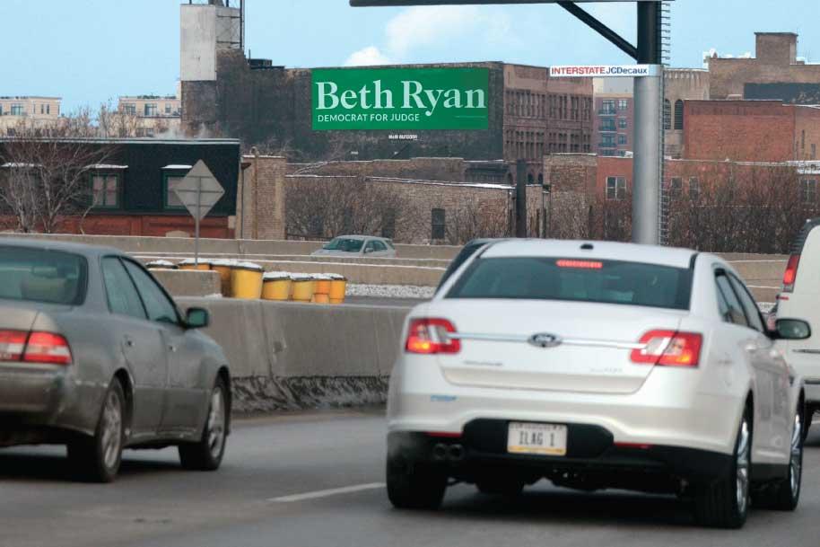 Billboard at West side of the Dan Ryan Expressway at Cermak Rd.