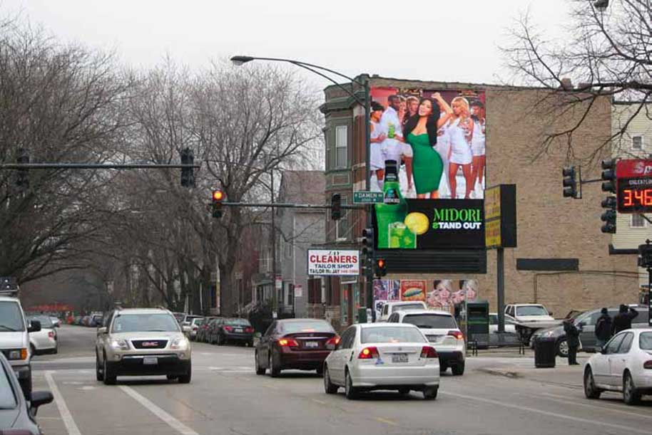 Billboard at South side of Roscoe Street at Damien Avenue