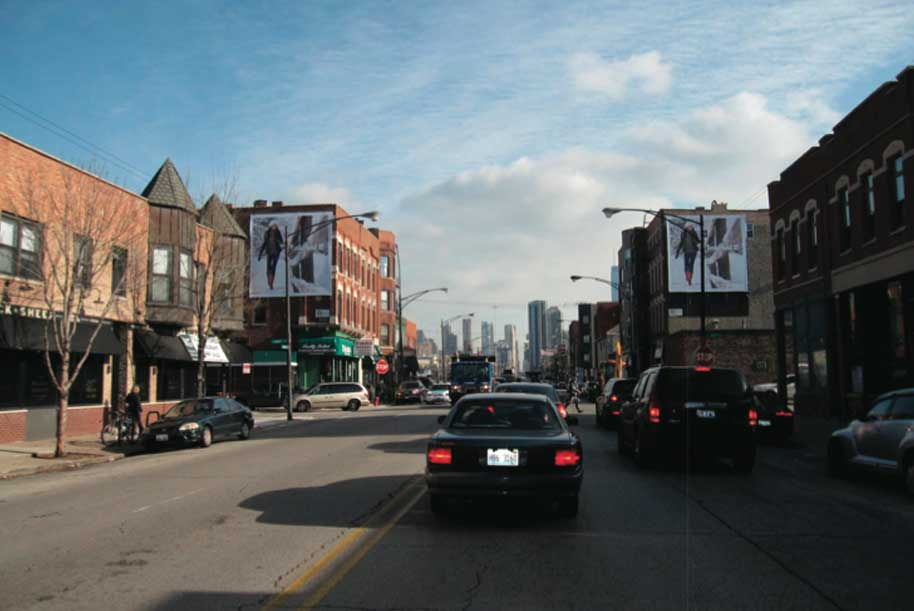 Billboards at North and South side of Grand Ave. at May St.